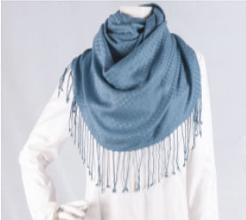 Patterned Blue Bamboo Scarf